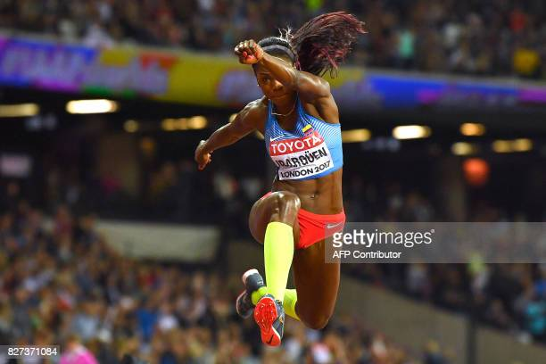 TOPSHOT Colombia's Caterine Ibarguen competes in the final of the women's triple jump athletics event at the 2017 IAAF World Championships at the...
