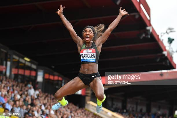 TOPSHOT Colombia's Caterine Ibarguen competes in the women's long jump during the 2018 IAAF Birmingham Diamond League athletics meeting at Alexander...