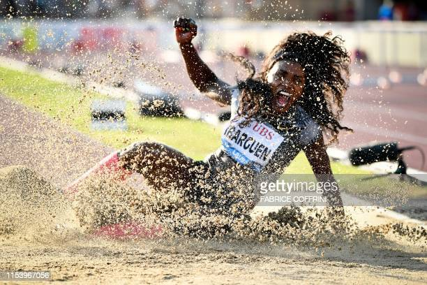 Colombia's Caterine Ibarguen reacts as she competes in the Women's triple jump during the IAAF Diamond League competition on July 5, 2019 in Lausanne.
