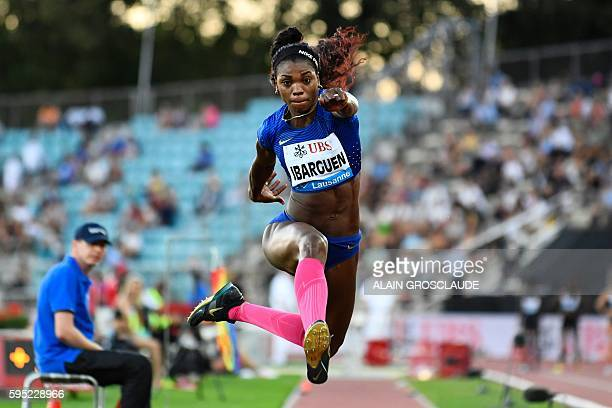 TOPSHOT Colombia's Catherine Ibargen competes in the women's triple jump event at the Diamond League Athletics meeting 'Athletissima' on August 25...
