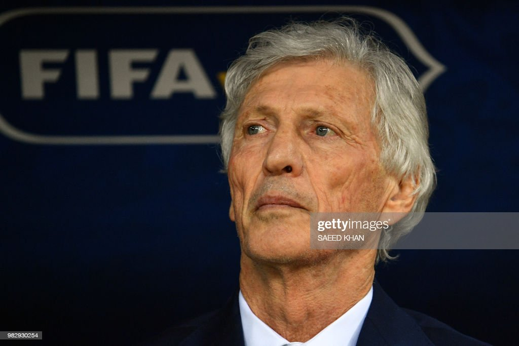 Colombia's coach Jose Pekerman looks on before the Russia 2018 World Cup Group H football match between Poland and Colombia at the Kazan Arena in Kazan on June 24, 2018. (Photo by SAEED KHAN / AFP) / RESTRICTED