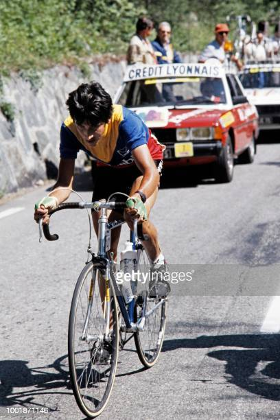 Colombia's cyclist Luis 'Lucho' Herrera takes part on July 16 1984 on the 17th stage of the 71st Tour de France between Grenoble and Alpe d'Huez The...