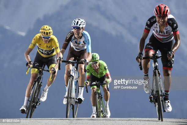 Colombia's Darwin Atapuma Colombia's Rigoberto Uran France's Romain Bardet and Great Britain's Christopher Froome wearing the overall leader's yellow...