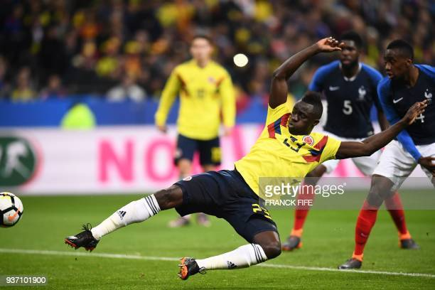 Colombia's defender Davinson Sanchez scors a goal during the friendly football match between France and Colombia at the Stade de France in SaintDenis...
