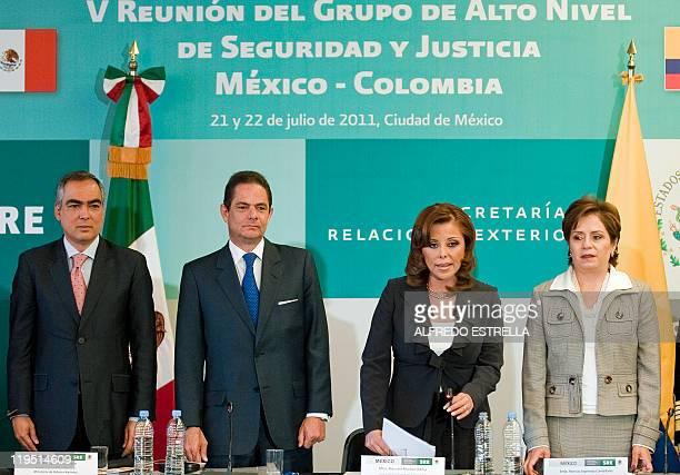 Colombia's Defense Minister Rodrigo Rivera Salazar Colombian Interior Minister German VargasLleras Mexican General Attorney Marisela Morales and...