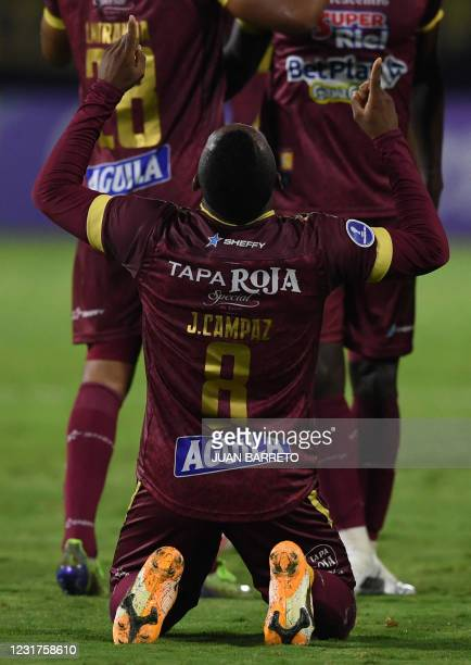 Colombia's Deportes Tolima Jaminton Campaz celebrates after scoring during the Copa Sudamericana football tournament all-Colombian first round match...