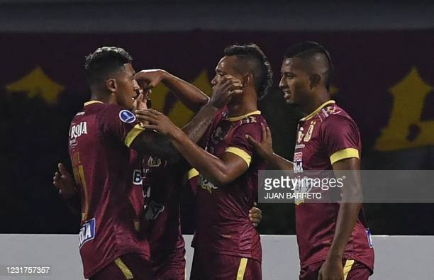 Colombia's Deportes Tolima Luis Miranda celebrates with teammates after scoring during the Copa Sudamericana football tournament all-Colombian first...
