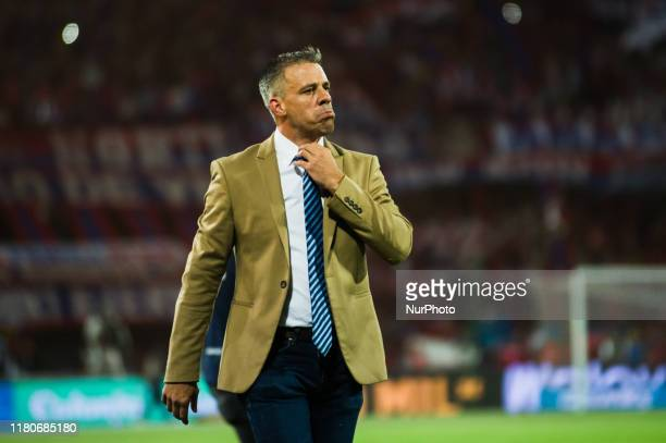 Colombia's Deportivo Cali coach Argentinian Lucas Pusineri reacts during Eagle Cup Champion 2019 Final match between Independiente Medellin and...
