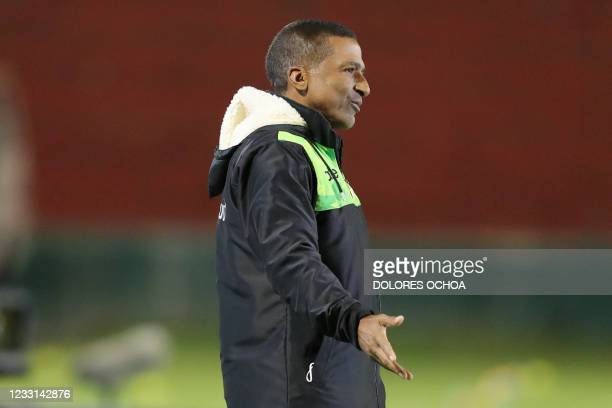 Colombia's Equidad coach Alexis Garcia gestures during the Copa Sudamericana football tournament group stage match against Brazil's Gremio at the...