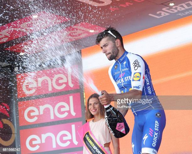 Colombia's Fernando Gaviria of team QuickStep celebrates on the podium after winning the 5th stage of the 100th Giro d'Italia Tour of Italy cycling...