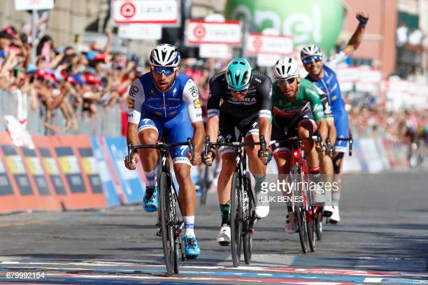 Colombia's Fernando Gaviria of team QuickStep sprints to cross the finish line to win the third stage of the 100th Giro d'Italia Tour of Italy...