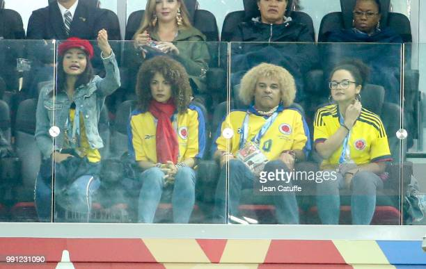 Colombia's football legend Carlos Valderrama his wife Elvira Redondo and daughters attend the 2018 FIFA World Cup Russia Round of 16 match between...