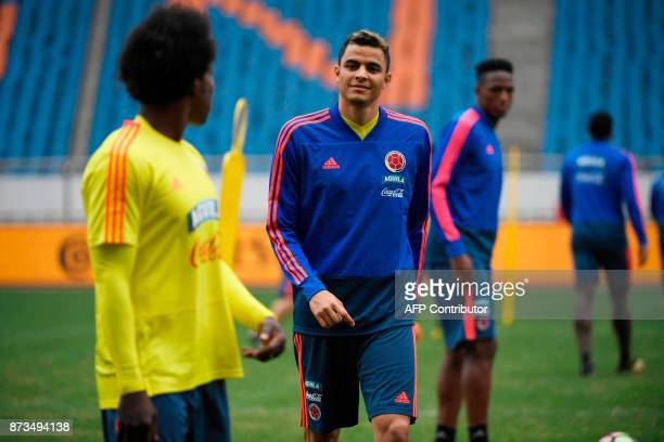 Colombia's football player Giovanni Moreno takes part in a training session in Chongqing southwest China on November 13 ahead of their international...
