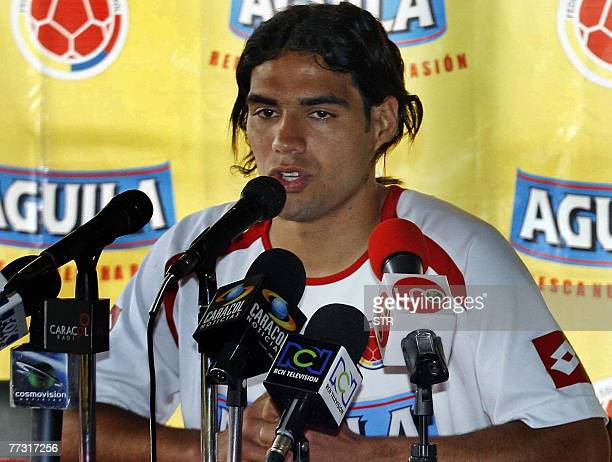 Colombia's football player Radamel Falcao Garcia speaks during a press conference 13 October 2007 in Rio Negro Medellin Colombia Colombia will face...