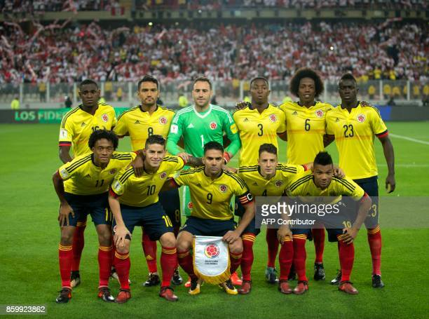 Colombia's football team players pose for a picture before the start of their 2018 World Cup qualifier football match against Peru in Lima on October...