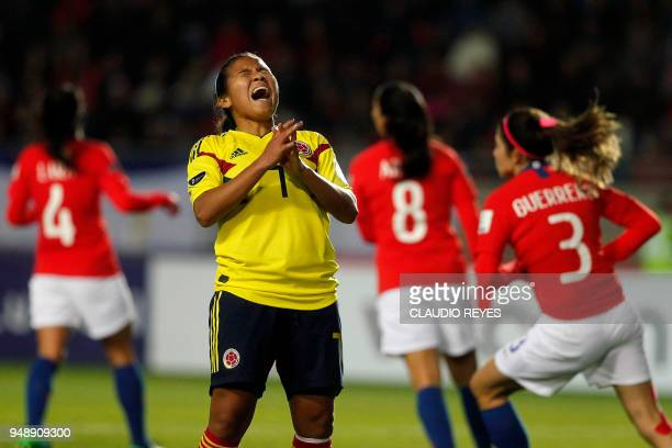 Colombia's footballer Leicy Santos reacts, during the women's Copa America football match against Chile, at La Portada stadium in La Serena, Chile on...
