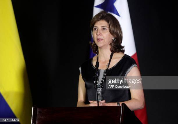 Colombia's Foreign Minister María Angela Holguin speaks during a press conference with Panama's Foreign Minister Isabel Saint Malo in Panama City on...