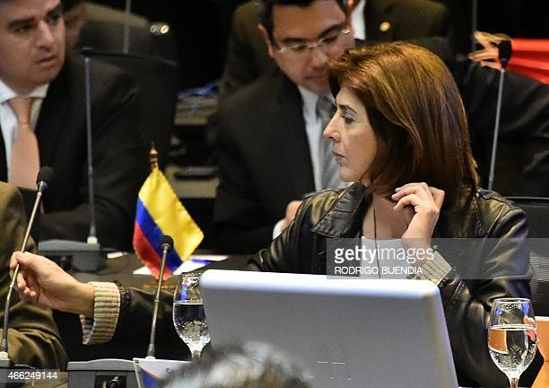 Colombia's Foreign Minister Maria Angela Holguin during the UNASUR meeting in Quito on March 14 2015 Ecuador called for an UNASUR special meeting to...