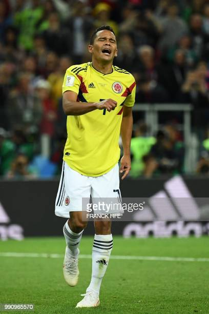 Colombia's forward Carlos Bacca reacts after missing to score a penalty kick during the penalty shootout of the Russia 2018 World Cup round of 16...