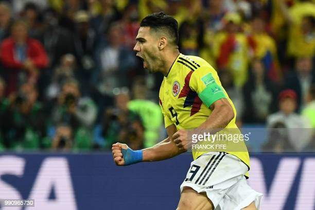 Colombia's forward Falcao celebrates after scoring a goal during the penalty shootout of the Russia 2018 World Cup round of 16 football match between...