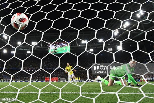 Colombia's forward Falcao scores a penalty kick during the penalty shootout of the Russia 2018 World Cup round of 16 football match between Colombia...