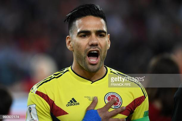 Colombia's forward Falcao sings the national anthem during the Russia 2018 World Cup round of 16 football match between Colombia and England at the...