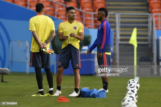 Colombia's forward Falcao takes part in a training session with teammates on June 18 2018 at the Mordovia Arena in Saransk during the Russia 2018...