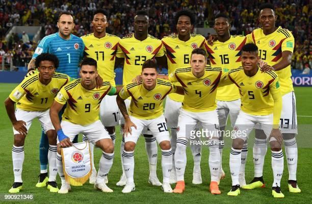 Colombia's forward Juan Cuadrado Colombia's forward Falcao Colombia's midfielder Juan Quintero Colombia's defender Santiago Arias Colombia's...