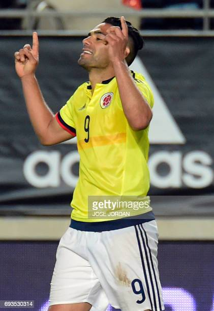 Colombia's forward Radamel Falcao celebrates a goal during the friendly international football match Spain vs Colombia at the Condomina stadium in...