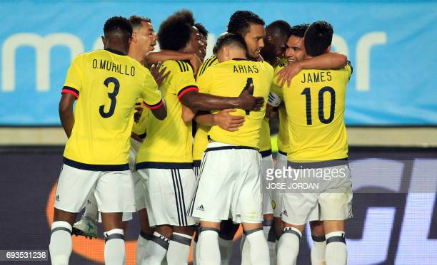 Colombia's forward Radamel Falcao celebrates a goal with teammates during the friendly international football match Spain vs Colombia at the...