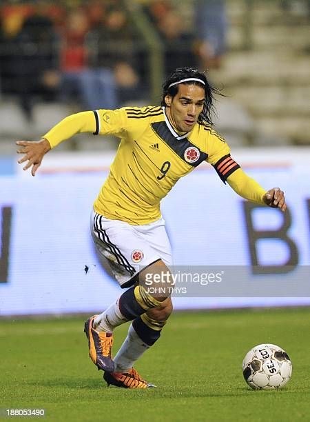 Colombia's forward Radamel Falcao runs with the ball during the friendly football match between Belgium and Colombia at King Baudouin stadium in...