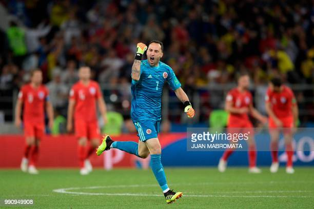 Colombia's goalkeeper David Ospina celebrates Colombia's defender Yerry Mina's goal during the Russia 2018 World Cup round of 16 football match...