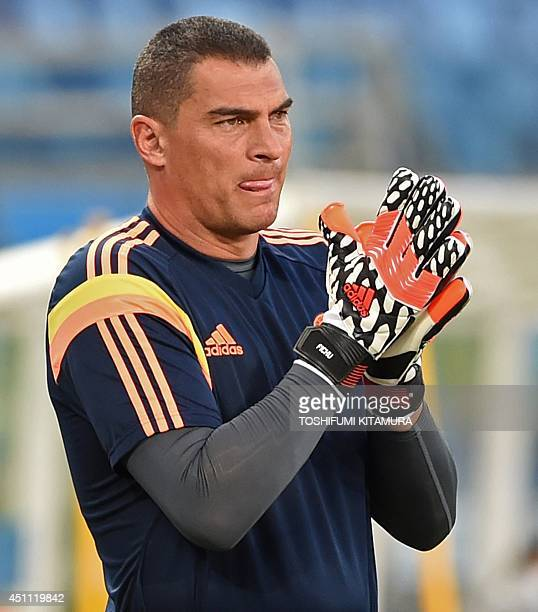 Colombia's goalkeeper Faryd Mondragon takes part in a training session at the Pantanal Arena in Cuiaba on June 23 on the eve of their Group C...