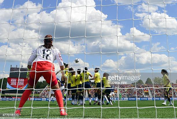 Colombia's goalkeeper Sandra Sepulveda eyes the ball during a Group F match at the 2015 FIFA Women's World Cup between France and Colombia at Moncton...