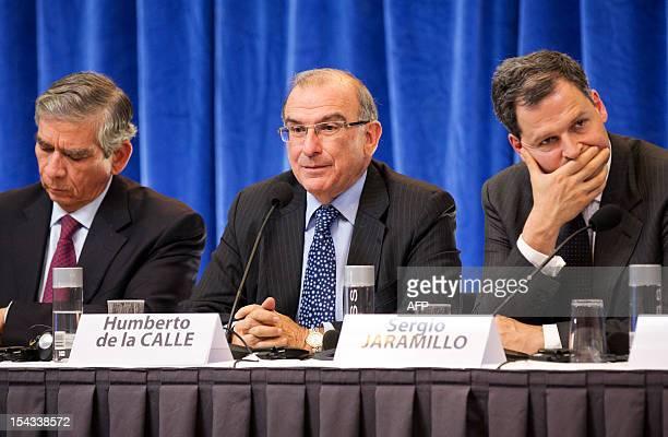 Colombia's government head of negotiators Humberto de la Calle Colombian General Jorge Enriques Mora Colombian national security advisor Sergio...
