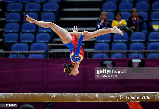 Colombia's gymnast Jessica Gil Ortiz takes part in a training session at 02 North Greenwich Arena in London on July 26 2012 on the eve of the start...