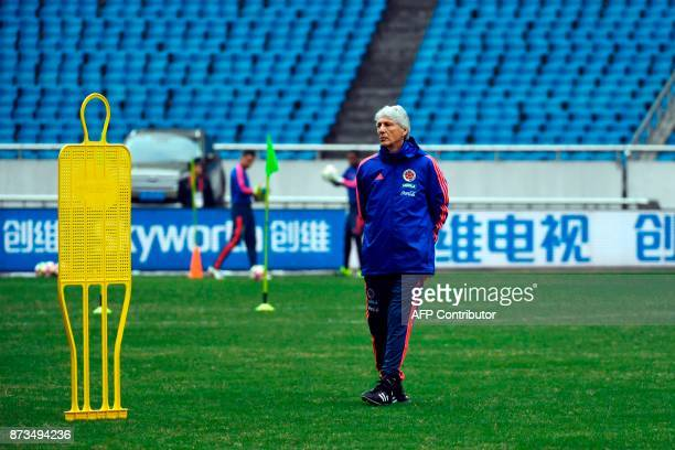 Colombia's head coach Jose Pekerman attends a training session in Chongqing southwest China on November 13 ahead of their international friendly...