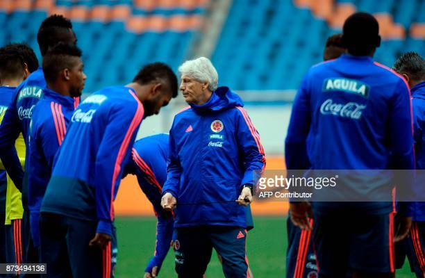 Colombia's head coach Jose Pekerman reacts during a training session in Chongqing southwest China on November 13 ahead of their international...