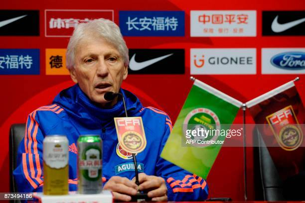 Colombia's head coach Jose Pekerman speaks during a press briefing in Chongqing southwest China on November 13 ahead of their international friendly...