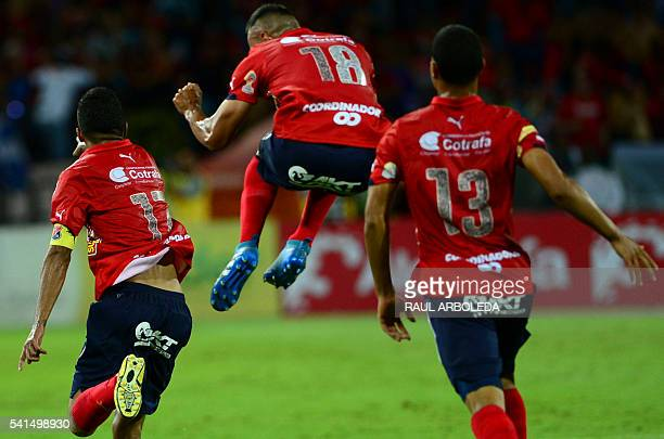 Colombia's Independiente Medellin player Cristian Marrugo celebrates his goal against Junior during their Colombian Football League final match at...