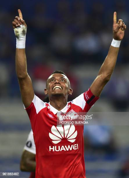 Colombia's Independiente Santa Fe player William Tesillo celebrates his goal against Emelec from Ecuador during their Copa Libertadores football...