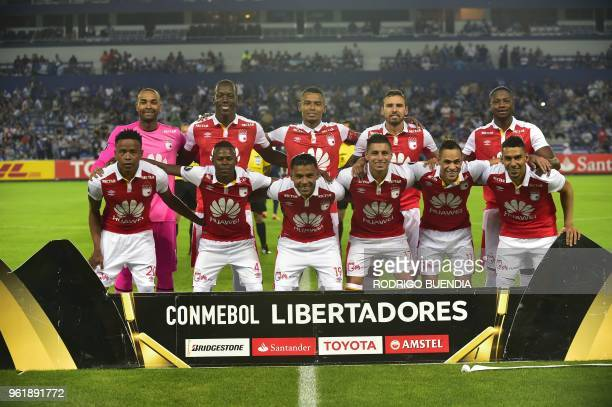 Colombia´s Independiente Santa Fe players pose before their Copa Libertadores football match at George Capwell stadium in Guayaquil Ecuador on May 23...