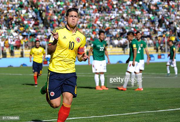 TOPSHOT Colombia's James Rodriguez celebrates after scoring against Bolivia during their Russia 2018 FIFA World Cup South American Qualifiers'...