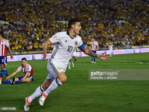 Colombia's James Rodriguez celebrates after scoring against Paraguay during a Copa America Centenario football match in Pasadena California United...
