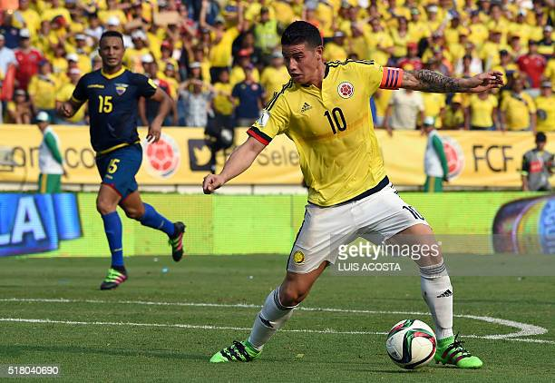 Colombia's James Rodriguez controls the ball during their Russia 2018 FIFA World Cup South American Qualifiers' football match in Barranquilla...