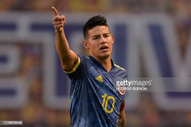Colombia's James Rodriguez gestures during the closed-door 2022 FIFA World Cup South American qualifier football match between Ecuador and Colombia...
