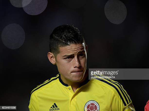 Colombia's James Rodriguez is pictured before the start of the 2018 FIFA World Cup qualifier football match against Uruguay in San Juan Argentina on...
