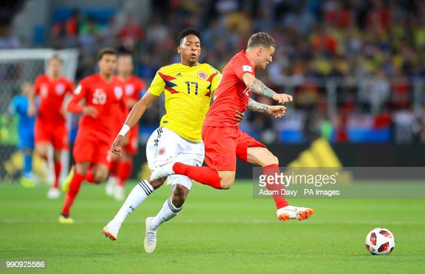 Colombia's Johan Mojica and England's Kieran Trippier during the FIFA World Cup 2018 round of 16 match at the Spartak Stadium Moscow