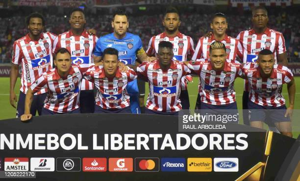 Colombia's Junior de Barranquilla players pose for a picture before their Copa Libertadores football match against Brazil's Flamengo at Metropolitano...