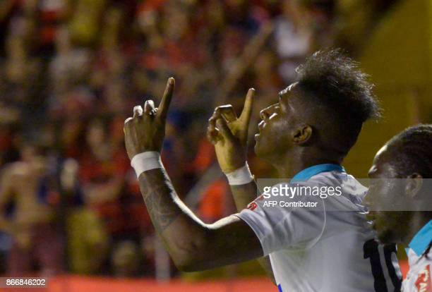 Colombia's Junior de Barranquilla Yony Gonzalez celebrates after scoring against Brazil's Sport Recife during their Sudamericana Cup first leg...